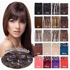 "16""-22"" Clip in Human Hair Extensions 100g-120g Black Brown Blonde Any Color AAA"