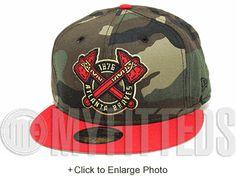 5091e2c7a69 Atlanta Braves 1876 Woodland Camo Scarlet Metallic gold Black New Era  Fitted Hat Woodland Camo