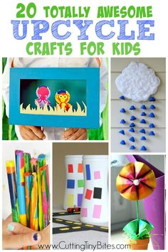 Crafts for kids using recyclable materials.  Easy enough for preschoolers.  Perfect for Earth Day!
