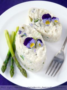 Risotto with Violets, Ricotta and Asparagus