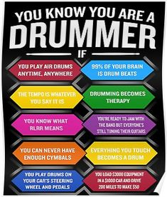 'You're A Drummer If Funny Drum Quote Top 10 Signs' Poster by JapaneseInkArt Drummer Humor, Drummer Quotes, Music Jokes, Music Humor, Electric Drum Set, Electric Guitars, Funny English Sayings, Learn Drums, Female Drummer