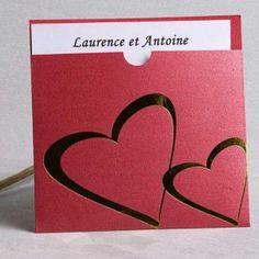 poche style faire part mariage rouge coeur chic JM115