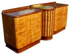 Art Deco Exotic Burl And Onyx Sideboard Buffet  luxurious embellishments abound including stones, quartzes and jewls and accents of jade, ivory and murano glass