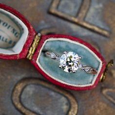 Platinum 1.5 Carat Diamond 1930's Engagement Ring #diamondengagementring