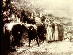 An unidentified Mormon pioneer family on the trail.