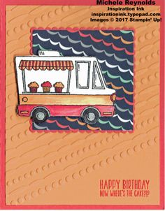 Tasty Trucks Streamer Background Truck.  Stampin' Up! products - Tasty Trucks Photopolymer Set, Festive Textured Impressions Embossing Folder, Layering Squares Framelits, Carried Away Designer Series Paper, Blender Pens, and Wink of Stella Glitter Brush.  Measurements and step-by-step directions on my blog.  By Michele Reynolds, Inspiration Ink.