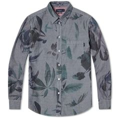 Paul Smith Floral Print Chambray Shirt (Grey)