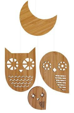 Petit Collage 'Owl Family - Classic' Bamboo Mobile available at #Nordstrom