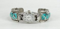 New Old Stock from the 1970s so very heavy Vintage Navajo cuff watch Sterling Silver turquoise inlay native american