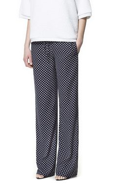 PRINTED WIDE TROUSERS - Trousers - Woman - ZARA United States
