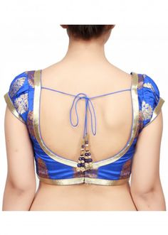 Different Shades of Blue Blouse Designs for Women - Buy lehenga choli online Brocade Blouse Designs, Patch Work Blouse Designs, Saree Blouse Neck Designs, Stylish Blouse Design, Choli Designs, Fancy Blouse Designs, Sari Blouse, Blouse Patterns, Embroidery Designs