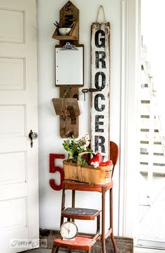 funky junk interiors Reclaimed wood message centre and nagging Grocery sign http://www.funkyjunkinteriors.net/2015/05/reclaimed-wood-message-centre-and-nagging-grocery-sign.html via bHome https://bhome.us