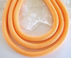 Braided Trim Rope Cord Semisoft Climbing Cord Light by Craft Materials, Light Orange, Single Piece, 1 Piece, Climbing, Braids, Beaded Necklace, Unique, Bijoux