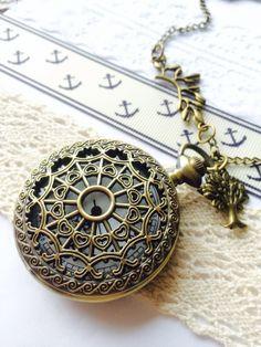 Antique Pocket Watch necklace steampunk by Victorianstudio on Etsy, $19.99
