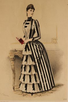 1880s fashion plate, beautiful striped dress from the 2nd bustle period. Also lovely as steampunk inspiration.