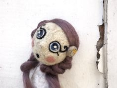 Bride needle felted marionette doll wedding lace by Pupillae