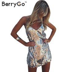 011a1d480c2 BerryGo Sexy silver sequin women dress Deep v neck sleeveless short dress  Elegant evening party dresses