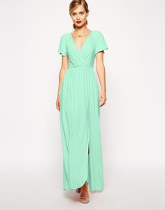 Enlarge ASOS Flutter Sleeve Wrap Maxi Dress