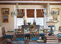 House of Turquoise: Carol Bancker Vietor Interior Decoration. New England Homes, New Homes, Bamboo Dining Chairs, Chippendale Chairs, House Of Turquoise, Interior Decorating, Interior Design, Cottage Decorating, Decorating Ideas