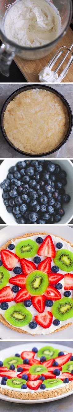Sugar Cookie Fruit Pizza – Ingredients: 1 cup fresh berries, 2 tsp vanilla extract, 1/4 tsp baking soda, 2 cups… Full recipe: http://chocolatecoveredkatie.com @choccoveredkt