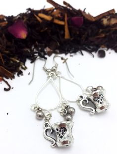 Antique Silver Teacup Dangle Earrings  Nickel by AQuarterToTea