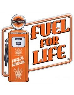 This Harley-Davidson Fuel for Life Tin Sign is the perfect fit for your Harley garage or game room decor. Vintage gas pump artwork with legendary Harley logo. Embossed tin sign by Ande Rooney. Logo Harley Davidson, Harley Davidson Vintage, Harley Davidson Motor, Vintage Tin Signs, Vintage Tins, Metal Plaque, Metal Signs, Station Essence, Phone Wallpaper For Men