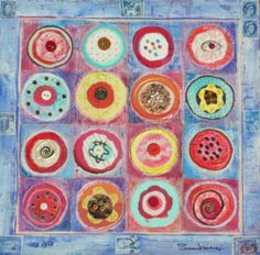 "Cupcake Toppings, mixed media collage by Susan Minier. Original painting 12 x 12"", $275 from www.susanminier.com"