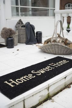Large Door Mat Home Sweet Home by Ib Laursen White Cottage, White Farmhouse, Shabby Cottage, Large Door Mats, Beautiful Home Gardens, House Beautiful, Entry Stairs, Sweet Home, Pajamas All Day