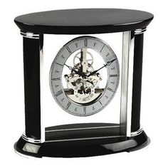 Oval Shape Top Black Piano Wood and Glass Mantel Clock with Moving Cogs