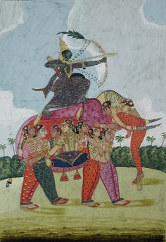 An elephant, composite, made up of dancing women serves as a mount to an archer.   Creation Date: ca. 1825.  Binney Collection,San Diego Museum of Art