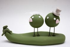 Mr and Mrs Sweet Pea Cake Topper. $45.00, via Etsy.