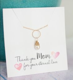 Mother of the Bride Gift Gold Pearl Necklace Mom by LRoseDesigns