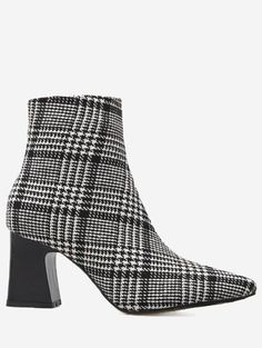 #SammyDress - #Rosewholesale Houndstooth Plaid Point Toe Ankle Boots - AdoreWe.com