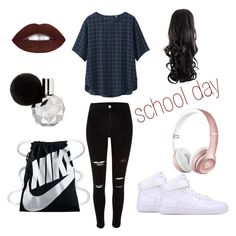 """""""school day"""" by fellaadjerid123 ❤ liked on Polyvore featuring mode, Uniqlo et NIKE"""
