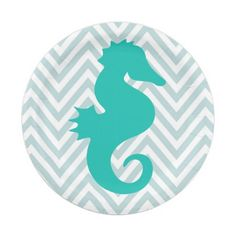 Teal Seahorse Beach Theme Baby Shower Paper Plates