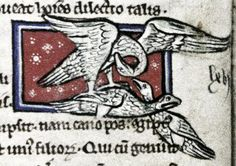 The pelican pierces her breast with her beak to revive her chicks with her blood. Bodleian Library, MS. Bodley 533, Folio 17v