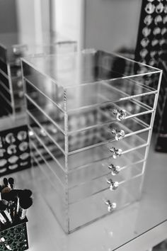 6 Drawer Acrylic Makeup Organizer Cube Cosmetics Storage Box Luxury Diamond Knob in Estuches y bolsos para maquillaje | eBay