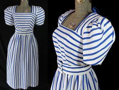 80s Striped Dress Nautical Sundress Blue White Stripes
