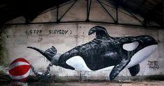 Michaël Beerens est un street-artist parisien qui témoigne son engagement en faveur de la cause animale sur les murs de la capitale. Ses œuvres sont multiples et mettent en scène des animaux confrontés aux souffrances infligées par l'homme prétendument moderne.