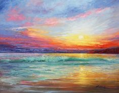 Smile Of The Sunrise Painting - Smile Of The Sunrise Fine Art Ocean Print #OilPaintingOcean