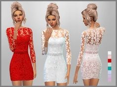 Set of 8 Short Lace Dresses for everyday and formal wear  Found in TSR Category 'Sims 4 Female Everyday'