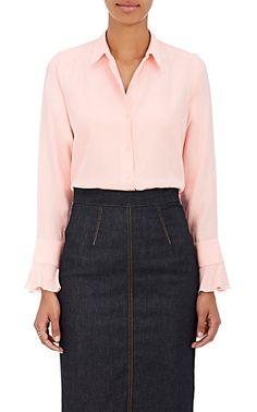 Barneys New York Silk Satin-Back Crepe Blouse - Tops - 505071889