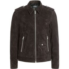 The Kooples Suede Jacket ($999) ❤ liked on Polyvore featuring men's fashion, men's clothing, men's outerwear, men's jackets, brown, mens brown suede jacket, mens suede leather jacket, mens brown jacket, mens zip up jackets and mens suede jacket