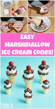 Marshmallow Ice Cream Cones - your kids will love this fun & easy summer treat that will never melt! This is a really cute idea for birthday parties! Birthday Party Snacks, Snacks Für Party, Cake Birthday, 5th Birthday, Ice Cream Theme, Ice Cream Party, Vino Y Chocolate, Marshmallow Treats, Ice Cream Social
