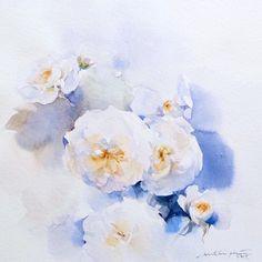 """White petal no.1  #watercolor #paint #painting #flower #white #rose #roses #petals #blue #art #artist #sweet #soft"""