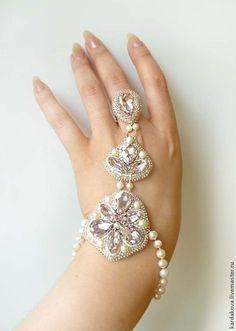 "Комплект браслет и серьги ""Розалин"". Handmade."