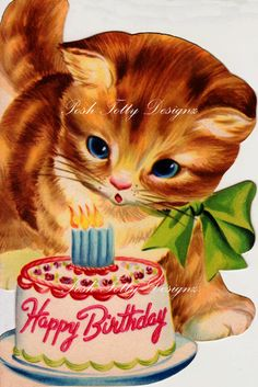 A Little Kittys Birthday 1950s Vintage Digital Download Image (306). $2.50, via Etsy.