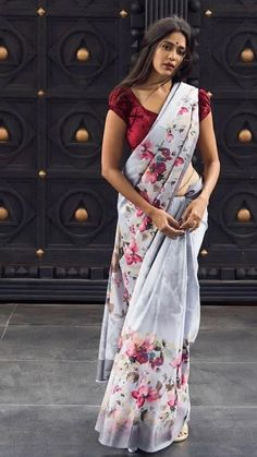 Floral Printed Linen Sarees from Adhira Collection: Online Shopping For women, Kid's, men's Satin Saree, Cotton Saree, Silk Sarees, Saris, Indian Beauty Saree, Indian Sarees, Pakistani Dresses, Saree Blouse Designs, Blouse Patterns