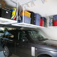 SafeRacks Overhead Garage Storage Bike Rack Heavy Duty Ceiling Drop) Actually we can utilize the ceiling of the garage. Among them is utilized as garage ceiling storage Garage Ceiling Storage, Garage Storage Racks, Overhead Garage Storage, Garage Storage Solutions, Garage Organization, Storage Ideas, Organization Ideas, Garage Shelving, Kayak Storage