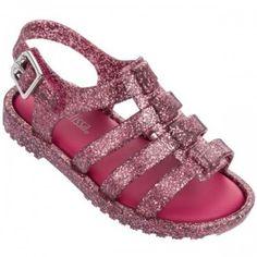 Mini Melissa Flox 31675 BB Rosa Glitter Papete Sandália Infantil Criança